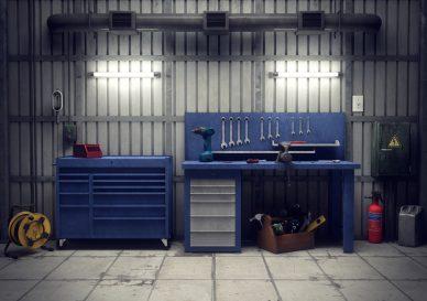 Werkzeuge in der Werkstatt.